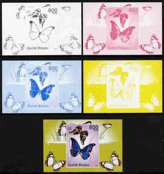 Guinea - Bissau 2010 Butterflies #04 individual deluxe sheet - the set of 5 imperf progressive proofs comprising the 4 individual colours plus all 4-colour composite, unmounted mint