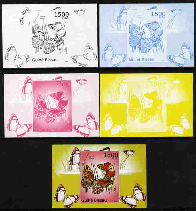 Guinea - Bissau 2010 Butterflies #08 individual deluxe sheet - the set of 5 imperf progressive proofs comprising the 4 individual colours plus all 4-colour composite, unmounted mint