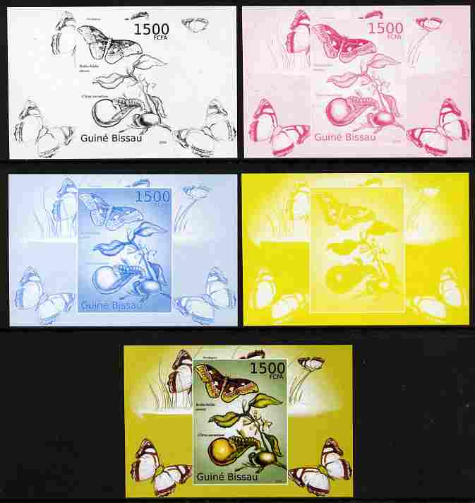 Guinea - Bissau 2010 Butterflies #09 individual deluxe sheet - the set of 5 imperf progressive proofs comprising the 4 individual colours plus all 4-colour composite, unmounted mint