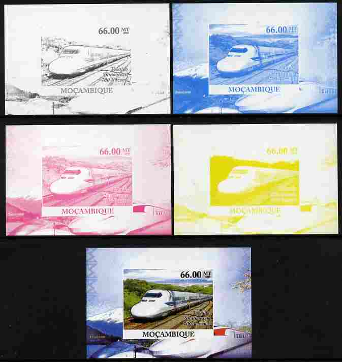 Mozambique 2010 Japanese High Speed Trains #3 individual deluxe sheet - the set of 5 imperf progressive proofs comprising the 4 individual colours plus all 4-colour composite, unmounted mint