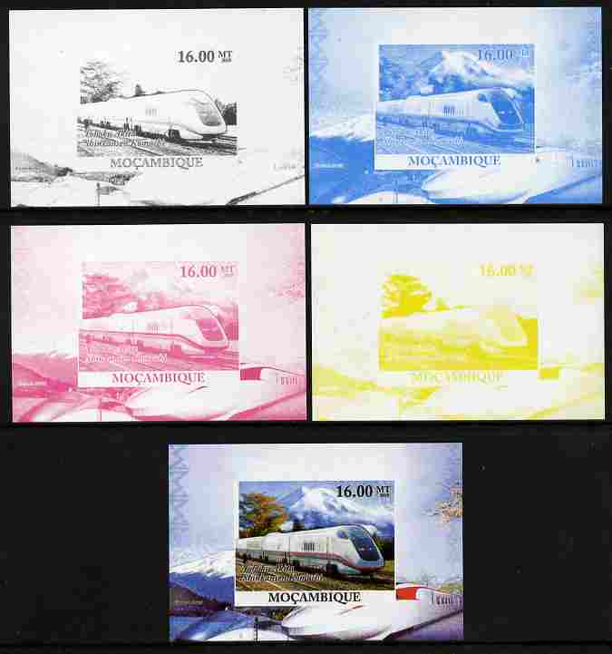 Mozambique 2010 Japanese High Speed Trains #4 individual deluxe sheet - the set of 5 imperf progressive proofs comprising the 4 individual colours plus all 4-colour composite, unmounted mint