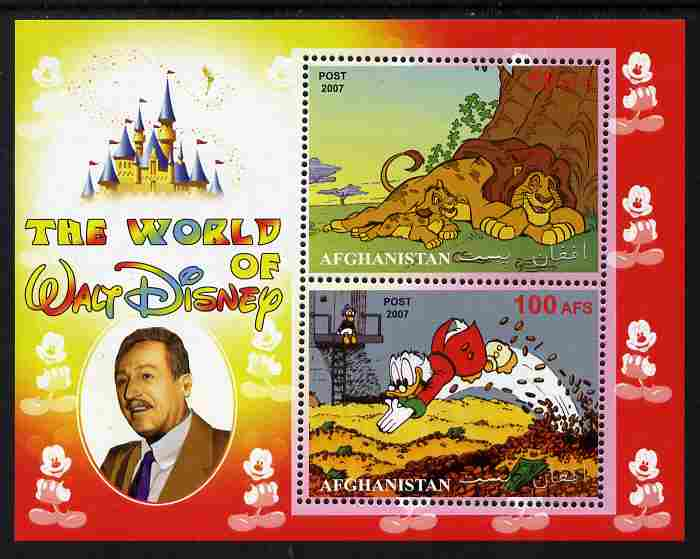 Afghanistan 2007 The World of Walt Disney perf sheetlet containing 2 values unmounted mint. Note this item is privately produced and is offered purely on its thematic app...