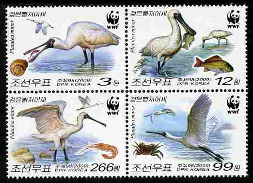North Korea 2009 WWF - Endangered Species - Spoonbil set-tenant block of 4 unmounted mint SG N4881b-e