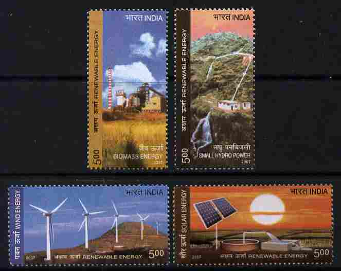 India 2007 Renewable Energy perf set of 4 unmounted mint SG 2441-4