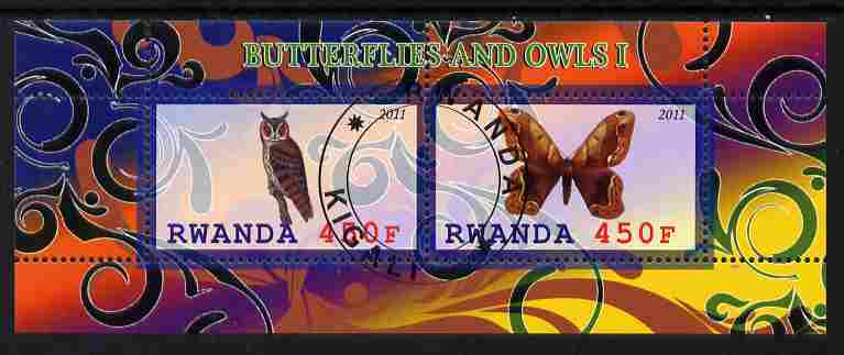 Rwanda 2011 Butterflies & Owls #1 perf sheetlet containing 2 values fine cto used