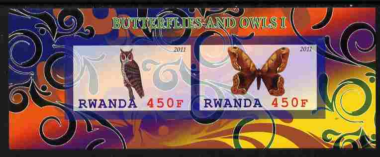 Rwanda 2011 Butterflies & Owls #1 imperf sheetlet containing 2 values unmounted mint
