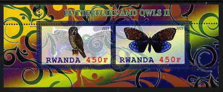 Rwanda 2011 Butterflies & Owls #2 perf sheetlet containing 2 values unmounted mint