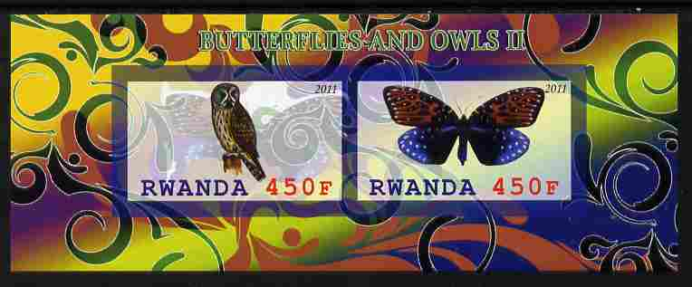 Rwanda 2011 Butterflies & Owls #2 imperf sheetlet containing 2 values unmounted mint