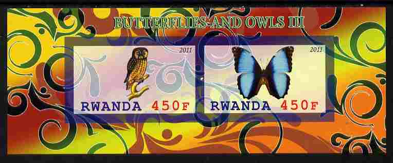 Rwanda 2011 Butterflies & Owls #3 imperf sheetlet containing 2 values unmounted mint