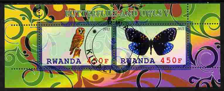 Rwanda 2011 Butterflies & Owls #5 perf sheetlet containing 2 values fine cto used