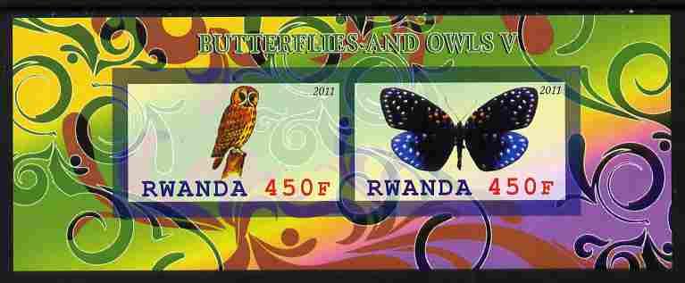 Rwanda 2011 Butterflies & Owls #5 imperf sheetlet containing 2 values unmounted mint