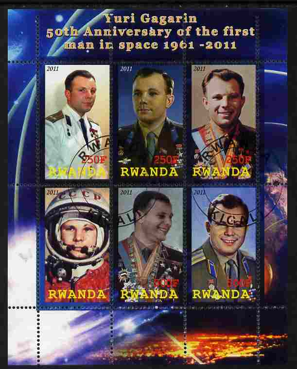 Rwanda 2011 50th Anniversary of First Man in Space perf sheetlet containing 6 values fine cto used