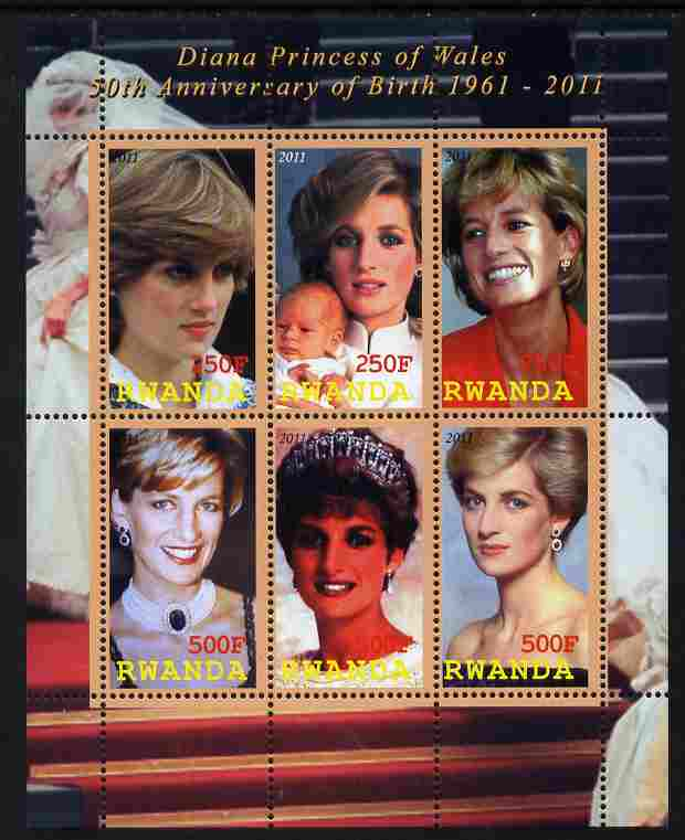 Rwanda 2011 50th Birth Anniversary of Princess Diana perf sheetlet containing 6 values unmounted mint