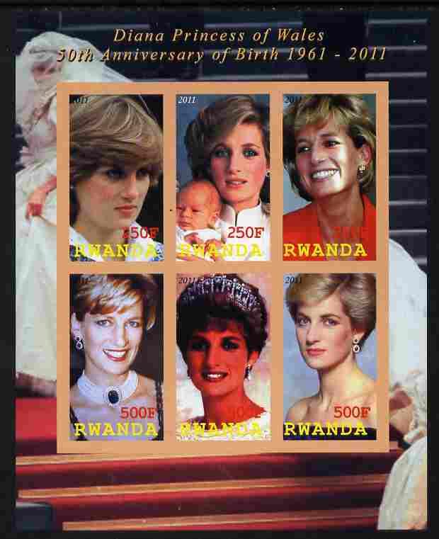 Rwanda 2011 50th Birth Anniversary of Princess Diana imperf sheetlet containing 6 values unmounted mint
