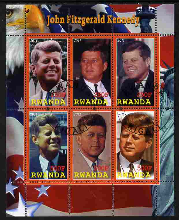 Rwanda 2011 John F Kennedy perf sheetlet containing 6 values fine cto used