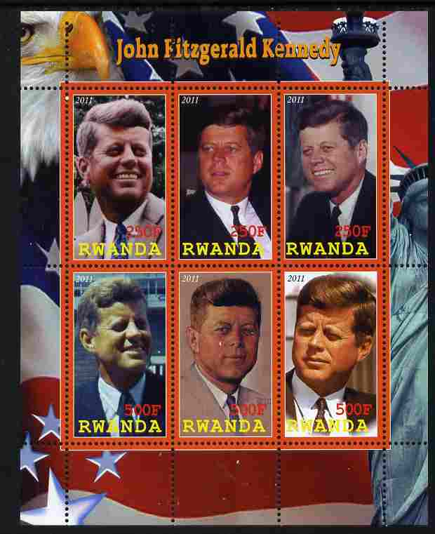 Rwanda 2011 John F Kennedy perf sheetlet containing 6 values unmounted mint