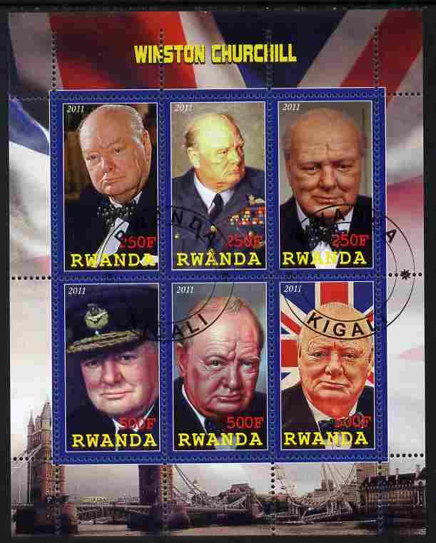 Rwanda 2011 Winston Churchill perf sheetlet containing 6 values fine cto used