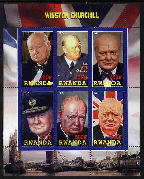 Rwanda 2011 Winston Churchill perf sheetlet containing 6 values unmounted mint