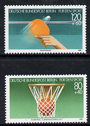 Germany - West Berlin 1985 Sport Promotion Fund set of 2 (Basketball & Table-Tennis) unmounted mint SG B694-95