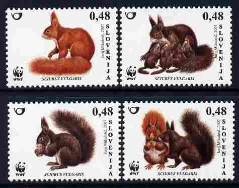 Slovenia 2007 WWF - Red Squirrel perf set of 4 unmounted mint SG 755-8