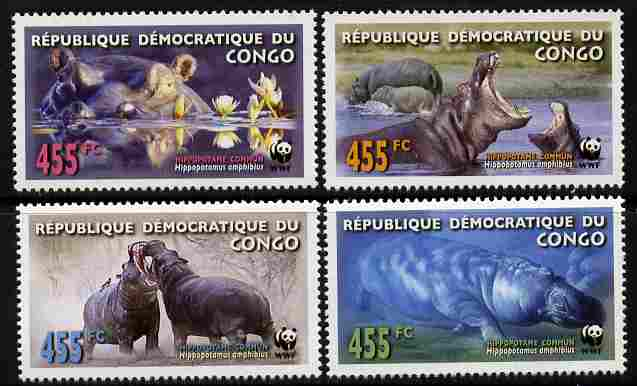 Congo 2006 WWF - Hippopotamus perf set of 4 unmounted mint. Note this item is privately produced and is offered purely on its thematic appeal