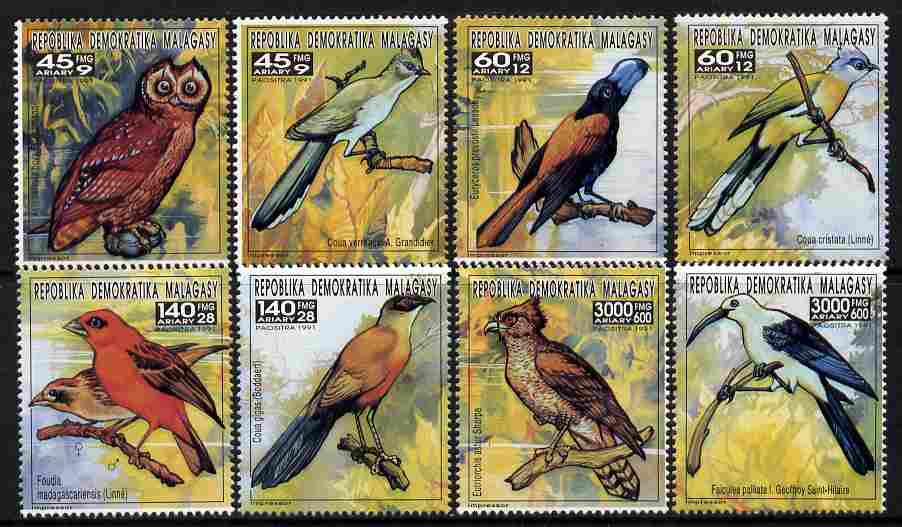 Madagascar 1993 Birds complete set of 8 values (from Butterflies & Birds set) unmounted mint between SG 1044-59