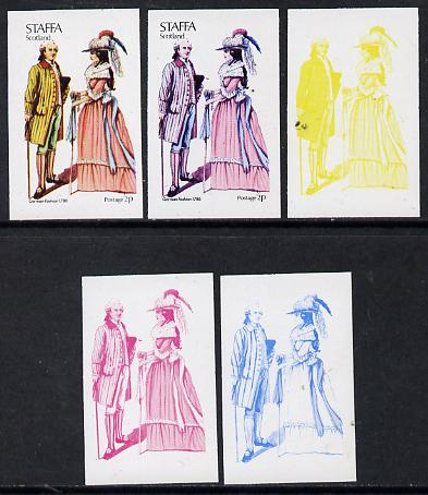 Staffa 1974 Costumes 1/2p (German Fashion 1786) set of 5 imperf progressive colour proofs comprising 3 individual colours (red, blue & yellow) plus 3 and all 4-colour com...