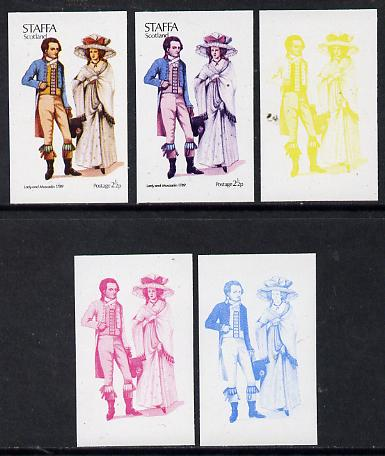 Staffa 1974 Costumes 2.5p (Lady & Muscadin 1789) set of 5 imperf progressive colour proofs comprising 3 individual colours (red, blue & yellow) plus 3 and all 4-colour co...