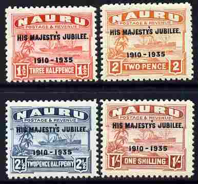 Nauru 1935 KG5 Silver Jubilee set of 4, mounted mint SG 145-8, stamps on , stamps on  kg5 , stamps on silver jubilee, stamps on ships