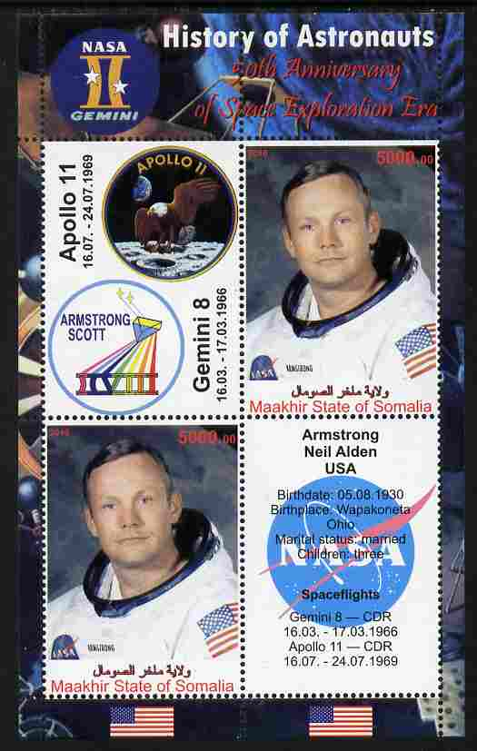 Maakhir State of Somalia 2010 50th Anniversary of Space Exploration #07 - Neil Armstrong perf sheetlet containing 2 values plus 2 labels unmounted mint