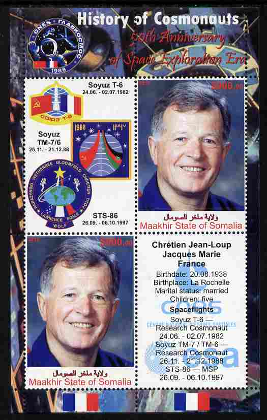 Maakhir State of Somalia 2010 50th Anniversary of Space Exploration #08 - Jean-Loup Chretien perf sheetlet containing 2 values plus 2 labels unmounted mint