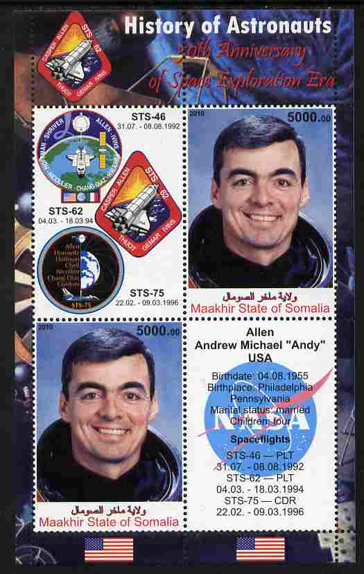 Maakhir State of Somalia 2010 50th Anniversary of Space Exploration #09 - Andrew 'Andy' Allen perf sheetlet containing 2 values plus 2 labels unmounted mint