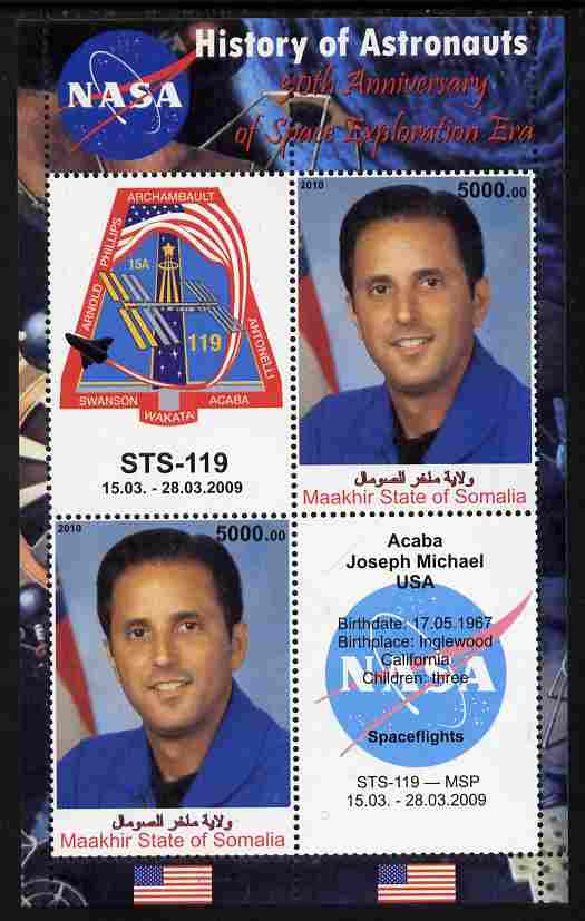 Maakhir State of Somalia 2010 50th Anniversary of Space Exploration #10 - Joseph Acaba perf sheetlet containing 2 values plus 2 labels unmounted mint