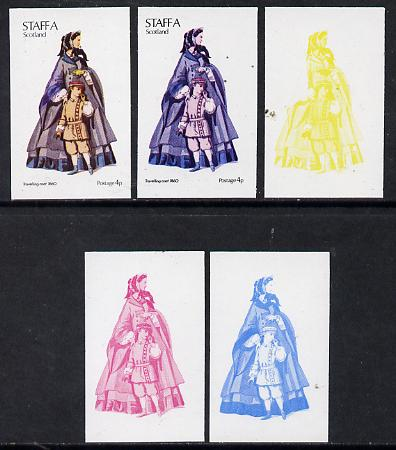 Staffa 1974 Costumes 4p (Travelling Coat 1860) set of 5 imperf progressive colour proofs comprising 3 individual colours (red, blue & yellow) plus 3 and all 4-colour comp...