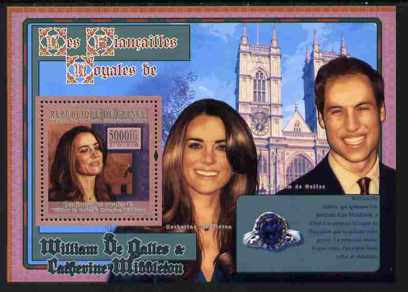 Guinea - Conakry 2010 The Royal Engagement - Prince William & Kate #4 - Westminster Abbey perf deluxe sheet unmounted mint
