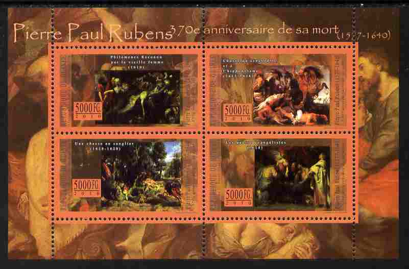 Guinea - Conakry 2010 70th Death Anniversary of Peter Paul Rubens perf sheetlet containing 4 values unmounted mint