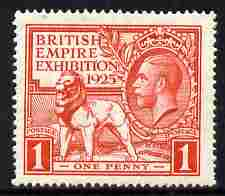 Great Britain 1925 KG5 Wembley Exhibition 1d scarlet well centred unmounted mint, SG 432