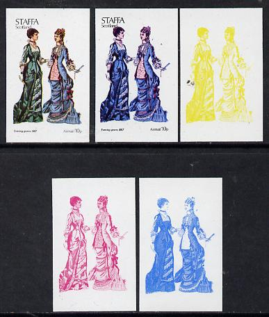 Staffa 1974 Costumes 10p (Evening Gowns 1887) set of 5 imperf progressive colour proofs comprising 3 individual colours (red, blue & yellow) plus 3 and all 4-colour compo...