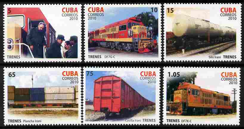 Cuba 2010 Railways perf set of 6 values unmounted mint