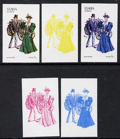 Staffa 1974 Costumes 15p (Street Wear 1895) set of 5 imperf progressive colour proofs comprising 3 individual colours (red, blue & yellow) plus 3 and all 4-colour composites unmounted mint