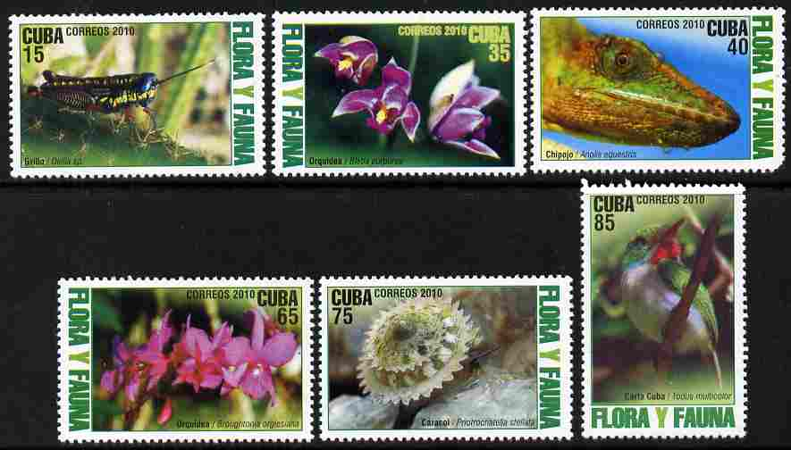 Cuba 2010 Flora & Fauna perf set of 6 values unmounted mint
