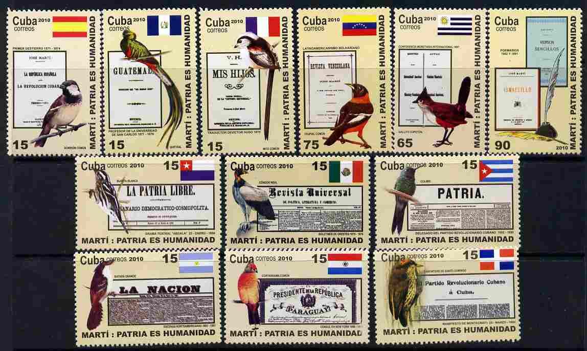 Cuba 2010 Birds, Flags & Documents perf set of 12 values unmounted mint