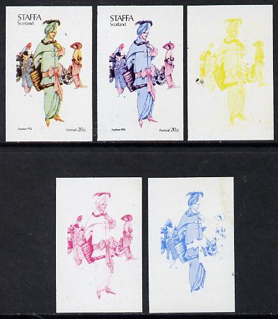 Staffa 1974 Costumes 20p (Fashion 1913) set of 5 imperf progressive colour proofs comprising 3 individual colours (red, blue & yellow) plus 3 and all 4-colour composites ...