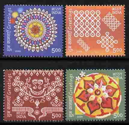 India 2009 Greetings perf set of 4 values unmounted mint