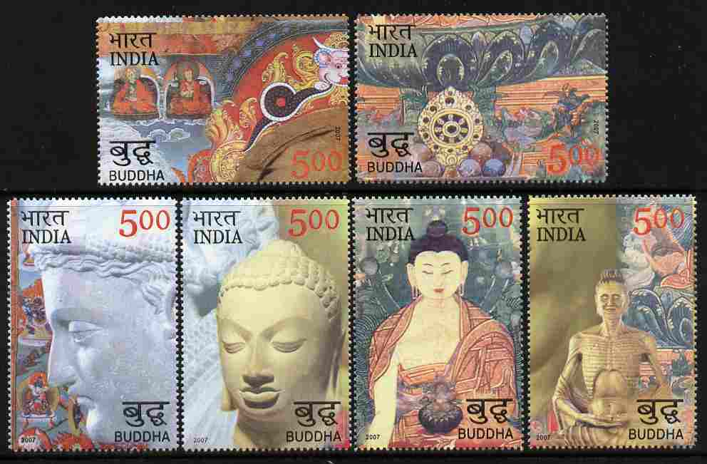 India 2007 2550 Years of Buddha perf set of 6 values unmounted mint SG 2397-2401