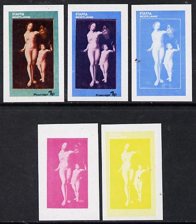 Staffa 1974 Paintings of Nudes  1p (un-named) set of 5 imperf progressive colour proofs comprising 3 individual colours (red, blue & yellow) plus 3 and all 4-colour composites unmounted mint