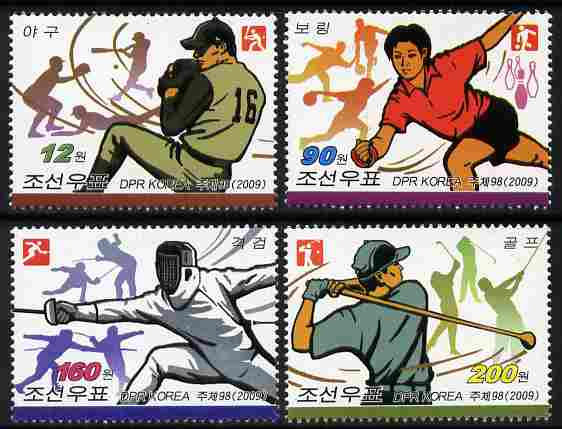 North Korea 2009 Sports perf set of 4 values unmounted mint, stamps on sport, stamps on baseball, stamps on fencing, stamps on golf, stamps on tenpin, stamps on bowling