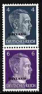 German Occupation of Russia 1941 Hitler Head 4pf & 6pf coil pair (4pf on top) overprinted OSTLAND unmounted mint, SG 3a