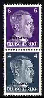 German Occupation of Russia 1941 Hitler Head 6pf & 4pf coil pair (6pf on top) overprinted OSTLAND unmounted mint, SG 3a