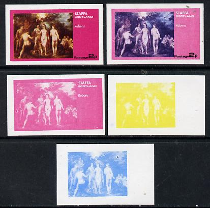 Staffa 1974 Paintings of Nudes  2p (Rubens) set of 5 imperf progressive colour proofs comprising 3 individual colours (red, blue & yellow) plus 3 and all 4-colour composites unmounted mint
